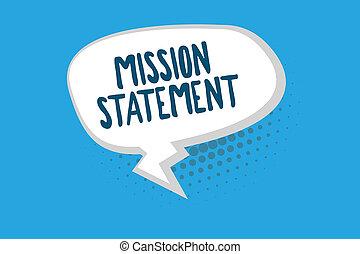 concept, mot, business, texte, compagnie, mission, vise, écriture, valeurs, statement., résumé, formel