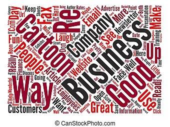 concept, mot, business, texte, dessins animés, fond, nuage, moyenne