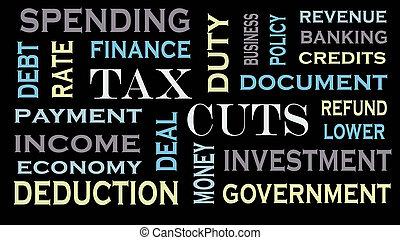 concept, mot, business, texte, impôt, coupures, financier, nuage, design.