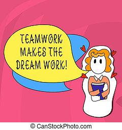 concept, mot, business, work., texte, camaraderie, écriture...
