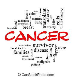 concept, mot, cancer, casquettes, nuage, rouges