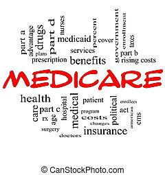 concept, mot, casquettes, assurance-maladie, nuage, rouges