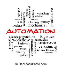concept, mot, casquettes, nuage, automation, rouges