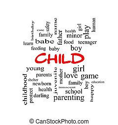 concept, mot, casquettes, nuage, enfant, rouges