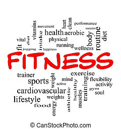 concept, mot, casquettes, nuage, fitness, rouges