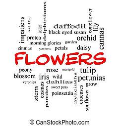 concept, mot, casquettes, nuage, fleurs, rouges