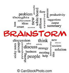 concept, mot, casquettes, nuage, idée génie, rouges