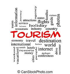 concept, mot, casquettes, nuage, tourisme, rouges