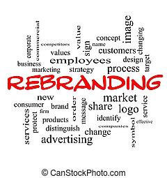 concept, mot, casquettes, rebranding, nuage, rouges