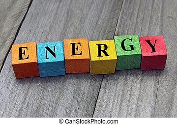 concept, mot, coloré, bois, énergie, cubes