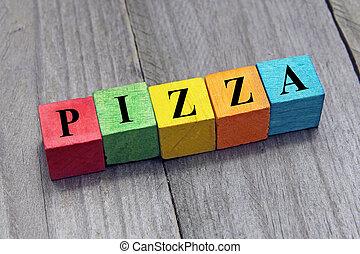 concept, mot, coloré, bois, cubes, pizza