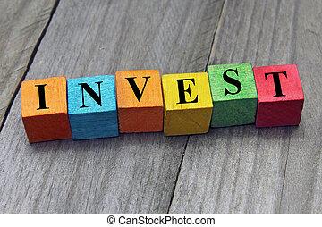 concept, mot, coloré, bois, investir, cubes