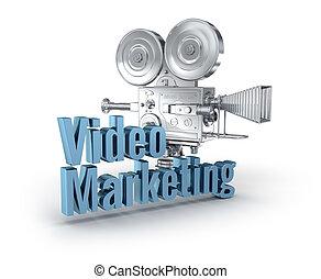 concept, mot, commercialisation, sur, vidéo, blanc, 3d