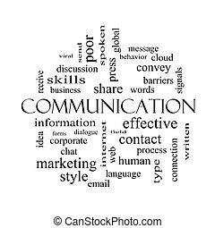 concept, mot, communication, noir, nuage blanc