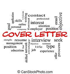 concept, mot, couverture, casquettes, nuage, lettre, rouges