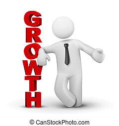 concept, mot, croissance affaires, présentation, homme, 3d
