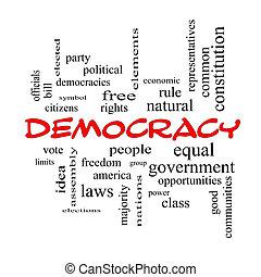 concept, mot, démocratie, casquettes, nuage, rouges