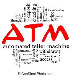 concept, mot, &, distributeur billets banque, rouge noir, nuage