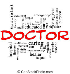 concept, mot, docteur, nuage noir, rouges