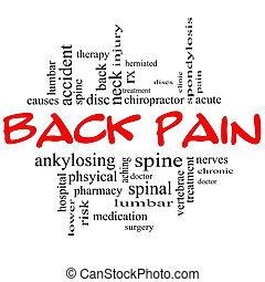 concept, mot, &, dos, nuage noir, douleur, rouges