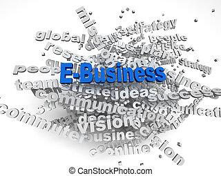 concept, mot, e-affaires, image, questions, fond, nuage, 3d