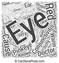 concept, mot, enfants, conjonctivite, pinkeye, ou, nuage
