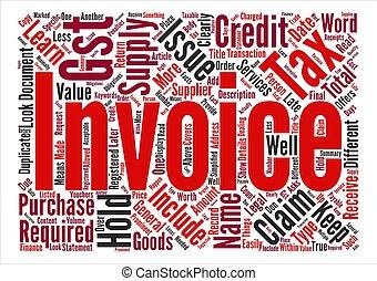 concept, mot, facture, texte, impôt, fond, nuage