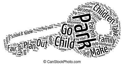 concept, mot, famille, texte, parcs, foires, sécurité, amusement, fond, festivals, pointes, nuage