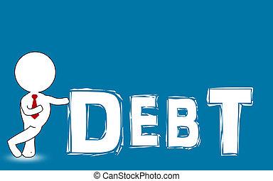 concept, mot, figure, présentation, humain, dette