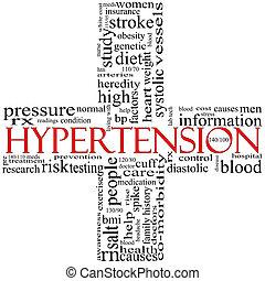concept, mot, formé, croix, hypertension, noir rouge, nuage