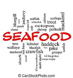 concept, mot, fruits mer, casquettes, nuage, rouges