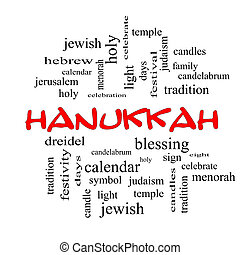 concept, mot, hanukkah, casquettes, nuage, rouges
