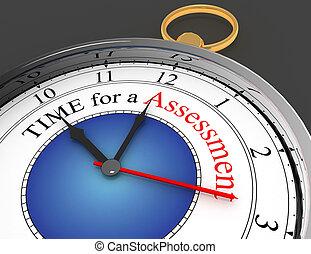 concept, mot, horloge, temps, évaluation, rouges