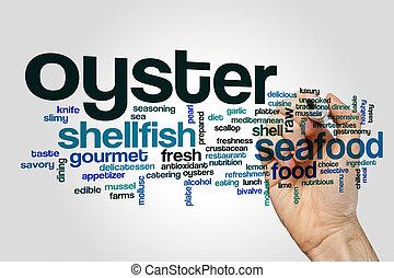 concept, mot, huître, nuage