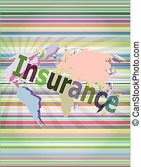 concept, mot, illustration affaires, écran, vecteur, numérique, assurance
