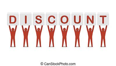 concept, mot, illustration., hommes, discount., tenue, 3d