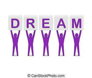 concept, mot, illustration., hommes, dream., tenue, 3d