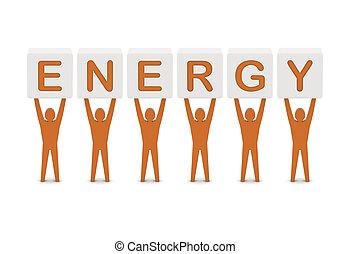 concept, mot, illustration., hommes, energy., tenue, 3d