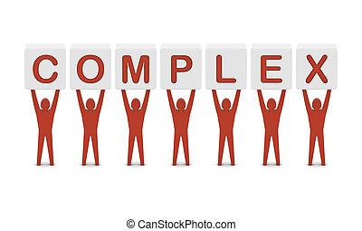 concept, mot, illustration., hommes, tenue, complex., 3d