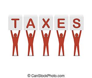 concept, mot, illustration., taxes., hommes, tenue, 3d