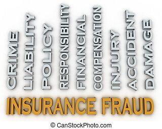 concept, mot, image, fraude, questions, fond, assurance, nuage, 3d