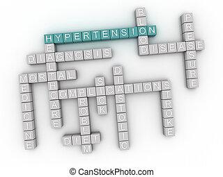 concept, mot, image, hypertension, questions, fond, nuage, 3d
