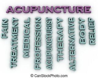 concept, mot, image, questions, fond, acupuncture, nuage, 3d