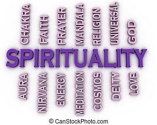 concept, mot, image, spiritualité, questions, fond, nuage, 3d