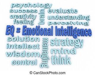 concept, mot, imagen, intelligence, fond, émotif, nuage, 3d