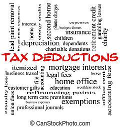concept, mot, impôt, casquettes, déductions, nuage, rouges