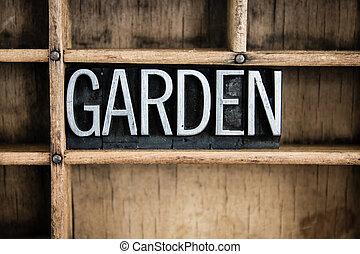 concept, mot, jardin, letterpress, métal, tiroir