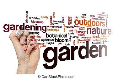 concept, mot, jardin, nuage