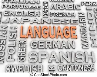 concept, mot, langue, image, questions, fond, nuage, 3d