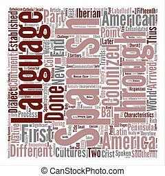 concept, mot, langue, texte, latin, fond, espagnol, amérique, nuage, histoire